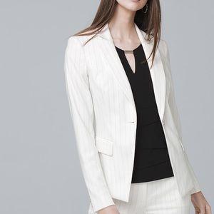 WHBM White Blazer size 10 pinstripe